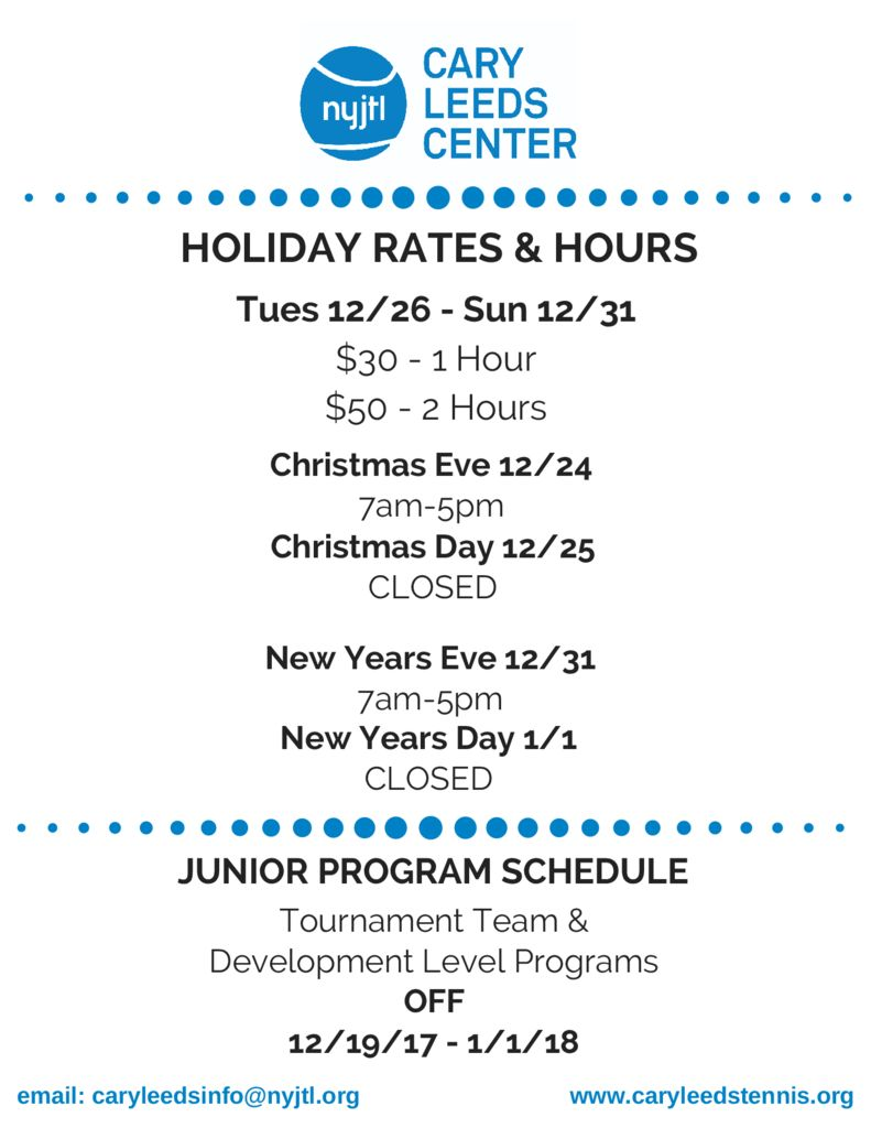 thumbnail of Christmas and New Years Hours
